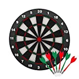 INNOCHEER Safety Darts and Kids Dart Board Set - 16 Inch Rubber Dart Board with 9 Soft Tip Darts for Children and Adults, Office and Family Time (New Black)