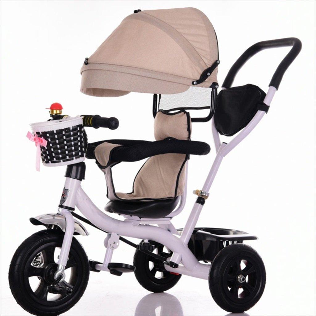 三輪車ベビーキャリッジバイク子供おもちゃトロリーチタンホイール/泡ホイール自転車3ホイール、回転可能な座席(ボーイ/ガール、1-3-5歳) (色 : カーキ, サイズ さいず : A) B07DVFK2X7 A|カーキ カーキ A