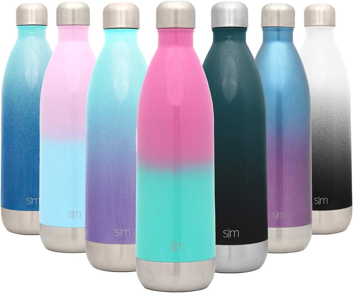 Simple Modern Wave 1000ml Termo Botella de Agua Acero Inoxidable, Botella termica sin BPA Mantiene el Temperatura Aislada al Vacío Doble Pared para Deporte café o viaje Dos Tonos: Sorbete