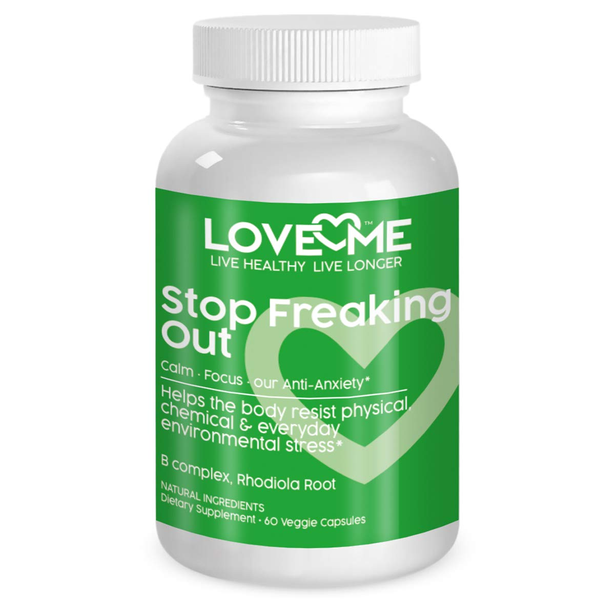 Love Me Nutrition – Stop Freaking Out – Anti-Anxiety Stress Formula Men Woman. Supports Peaceful Mind Body Soul- Serotonin Level Increase Natural No Artificial Ingredients 60 Vegi Caps