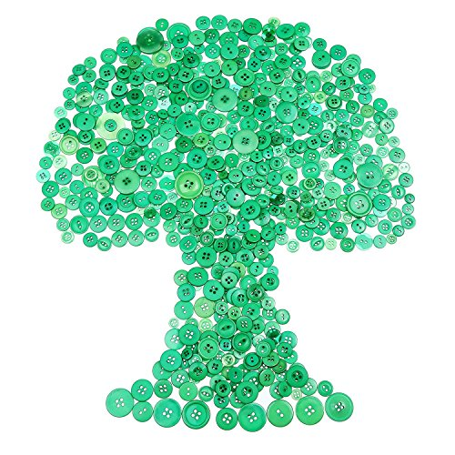 Bememo 720 Pieces Sewing Craft Buttons Resin Buttons Assorted Buttons for Crafts Sewing Decorations, 2 Holes and 4 Holes (Green)