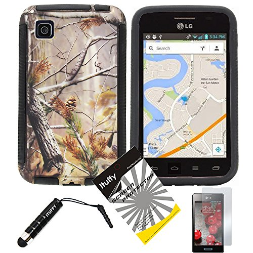 3 items Combo: ITUFFY (TM) LCD Screen Protector Film + Mini Stylus Pen + Design Wrap-Up Cover Faceplate Skin Phone Case for LG Optimus Dynamic II LG39C L39C (Net 10, StraightTalk, Tracfone) (Tree Camouflage - Black) (Lg Optimus Dynamic Phone Cover compare prices)