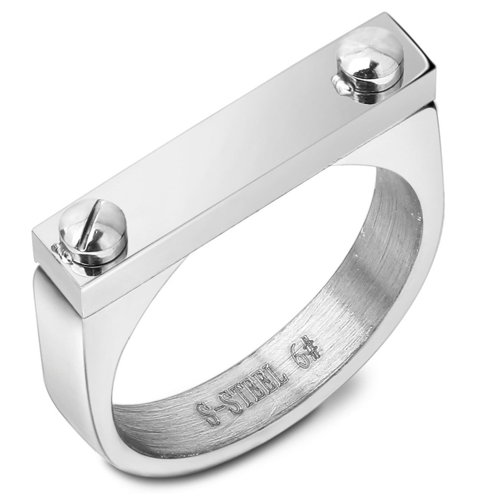 JAJAFOOK High Polished Vintage Stainless Steel Band Rectangle Bar Top Signet Screw Ring,3-Color