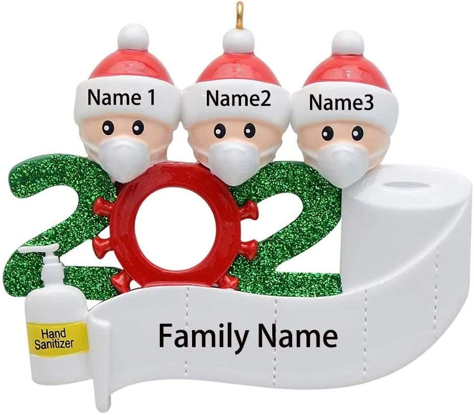 2020 Christmas Ornament Quarantine Family Personalized Ornaments for Christmas Trees Gifts Christmas Decorations for The Home (Family of 3)