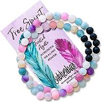 Subherban Essential Oil Bracelets - Aromatherapy Bracelet - Agate Lava Rock Anxiety Bracelet - FREE SPIRIT WRAP…