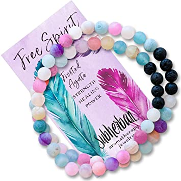 Women Anti-anxiety Hand String Beads Bracelet Natural Stone Agate Wristband CO