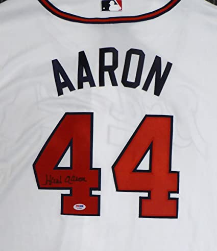 3a10dbd2e Image Unavailable. Image not available for. Color  ATLANTA BRAVES HANK  AARON AUTOGRAPHED WHITE MAJESTIC AUTHENTIC COOL BASE JERSEY ...