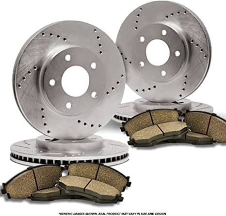 4 Cross-Drilled Disc Brake Rotors Front+Rear Kit Fits:- 5lug 8 Ceramic Pads High-End
