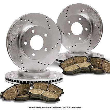 4 Prime Choice Auto Parts BRKPKG003960 Rear Ceramic Pad 2 Drilled Slotted Brake Rotors