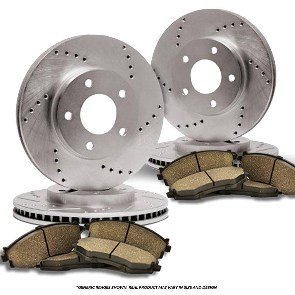 High-End Front Kit 5lug 2 Cross-Drilled Disc Brake Rotors 4 Ceramic Pads Fits:- Subaru