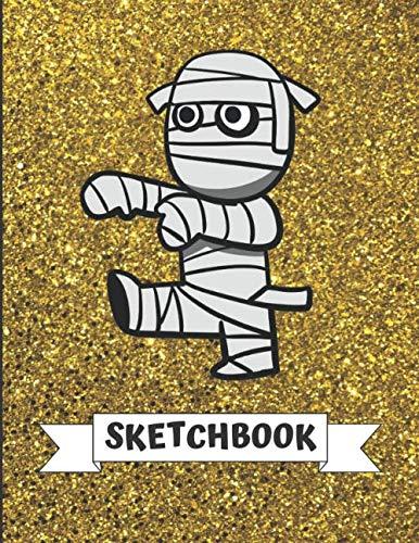 Sketchbook: Cute Halloween Mummy With Gold Glitter Effect