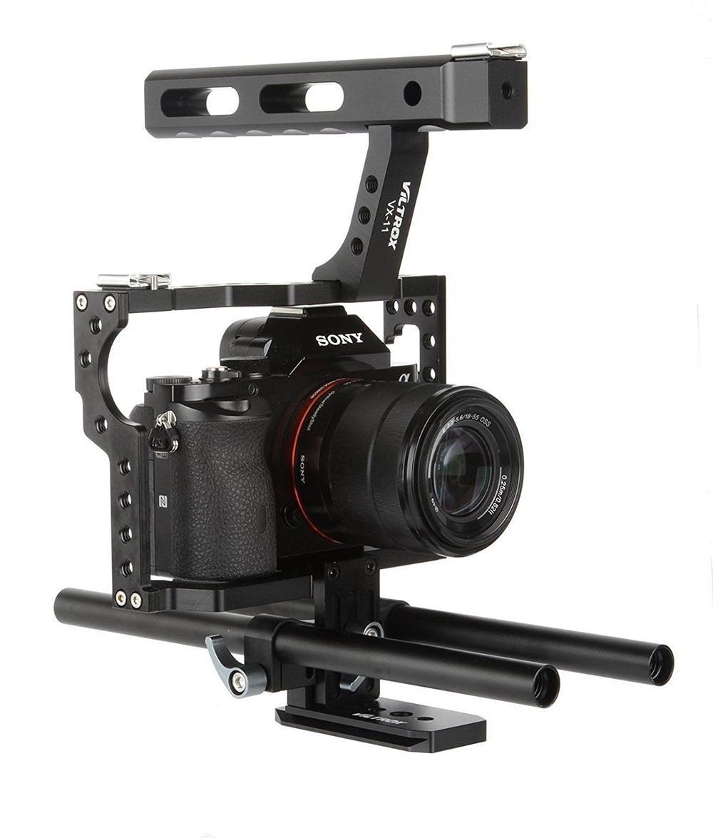 Jaula de cámara, Kit de Jaula de vídeo con empuñadura para cámaras ...