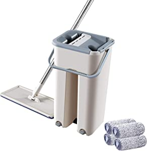 GeekHouse Foldable Flat Mop with Buckets Set, Squeeze Floor Mop Cleaning System for Home, Dry Wet Usage on Hardward Floor Cleaner, 360° Flexible Head Mop with 4 Reusable Microfiber Pads