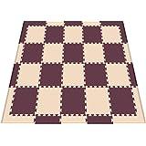 リトルプリンセス Little Princess 抗菌フロアーマット ツートンカラー スモールパッケージ ベージュ&ブラウン (正方形マット20枚、エッジマット10枚、コーナーマット8枚)