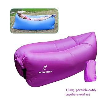 Playa tumbona, fourling Tartán tejido de nylon hinchable interiores y exteriores Sacos de dormir cómodo