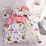 CLOTHKNOW Pink Elephant Bedding Sets Twin Daughter Princess Gift Duvet Cover Sets Girls Animal 100 Cotton 3 Pieces - 1 Duvet Cover with Zipper Closure 2 Envelope Pillow Shams NO Comforter