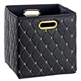 Creative Scents Cube Storage Bin Faux Leather - Decorative Basket with Handles for Shelf, Fold-able Storage Cube Organizer Bin for Closet Clothes blanket magazines Bedroom nursery Under Bed (Black)