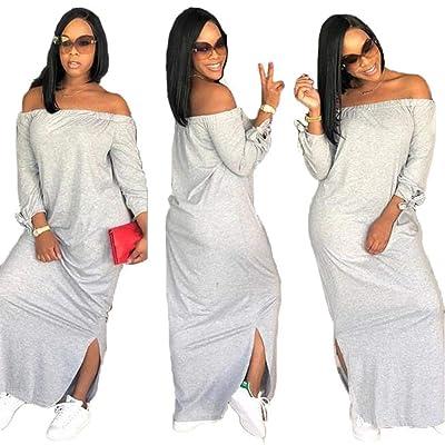 Korean Fashion Womens Striped Off Shoulder Evening Party Tunic Summer Maxi Dress
