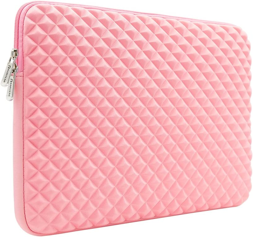 RAINYEAR 15 Inch Laptop Sleeve Diamond Foam Shock Resistant Neoprene Padded Case Fluffy Lining Zipper Cover Bag Compatible with 15.4 MacBook Pro/Retina/Touch Bar A1707 A1990(Pink)