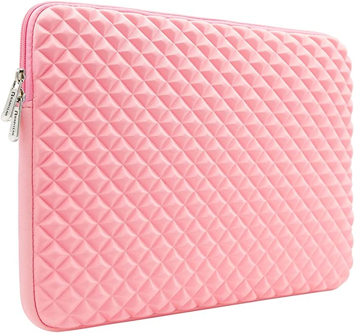 """RAINYEAR 11 Inch Laptop Sleeve Diamond Foam Shock Resistant Neoprene Padded Case Fluffy Lining Cover Bag Compatible with 11.6 MacBook Air Surface for 11"""" Chromebook Tablet Notebook Ultrabook(Pink)"""