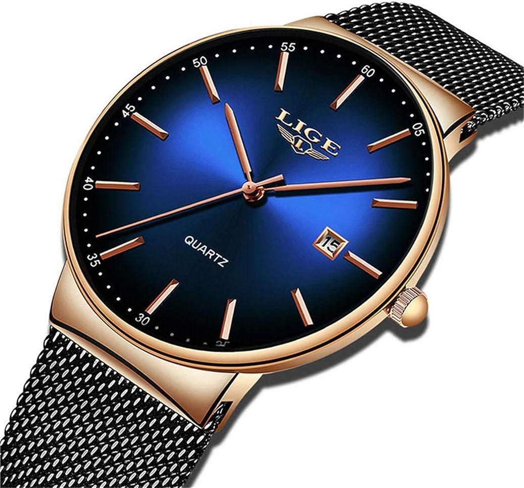 LIGE Relojes para Hombre Reloj de Cuarzo analógico Ultra Delgado y de Moda Simple Gents Negro Reloj de Pulsera Impermeable de Acero Inoxidable Reloj Dorado Minimalista Fecha