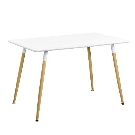 [en.casa]®] Mesa de Comedor para 4 Personas [120x70cm] Mesa de Cocina Rectangular Blanca