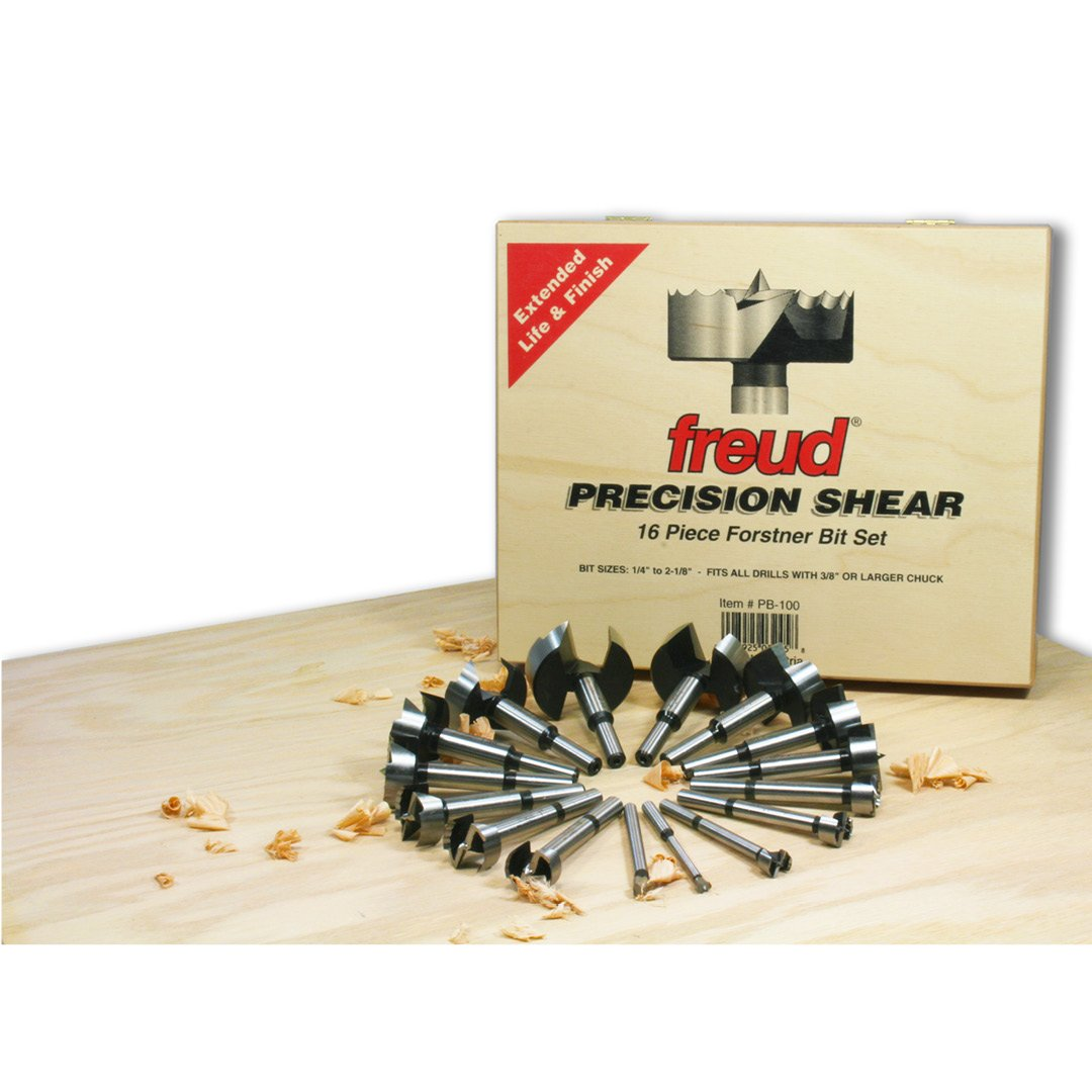 Freud 16 Pcs. Precision Shear Serrated Edge Forstner Drill Bit Set 1/4 In. to 2-1/8 In. (PB-100) by Freud