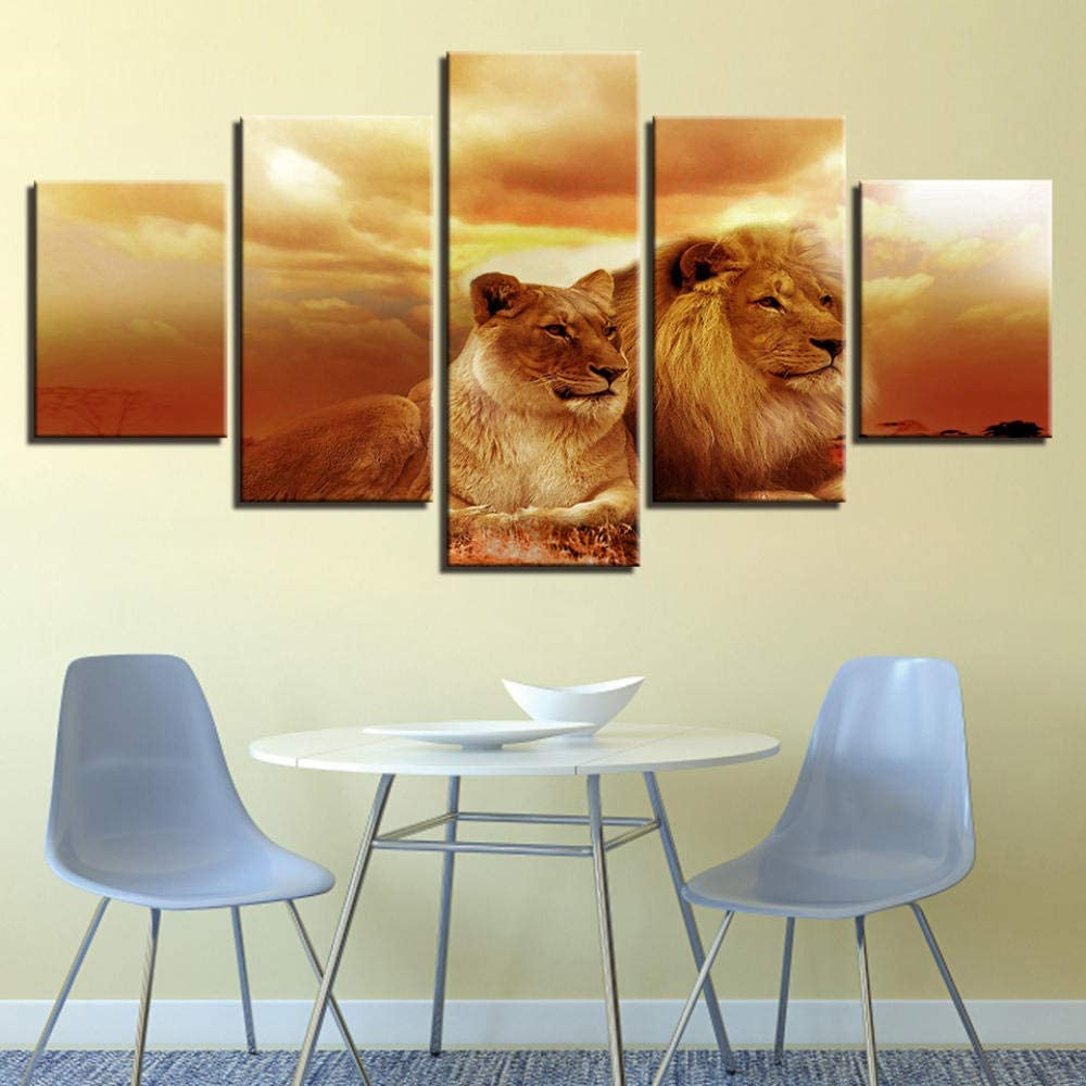 Wall Art 5 Panels Framed Canvas Sunset King Of The Forest Lions Wall Decor Bedroom Living Room Home Decor Painting Poster Print Painting Modern Giclee Artwork Stretched and Framed Ready to Hang