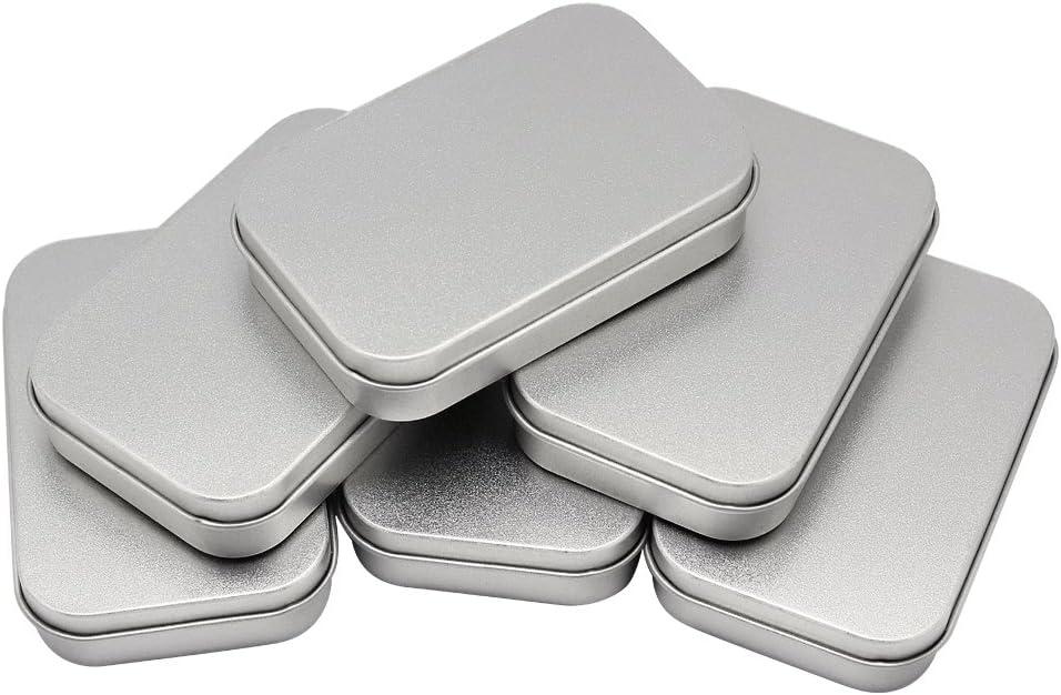 Hysagtek - Cajas de lata, 6 unidades, portátiles, vacías, rectangulares, para costura, cuentas, manualidades, geocache, kit de supervivencia, 9,5 x 6 x 2 cm, color plateado