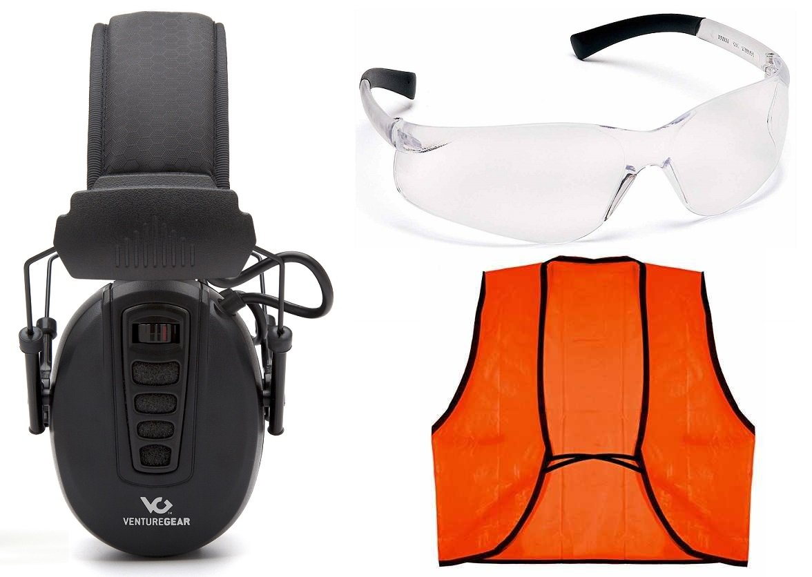 Ultimate Arms Gear ELECTRONIC NRR 24db Tactical Clandestine Earmuff Hearing Protection + Safety Glassess Eyewear + Outdoor Hunting Hunter Shooting Neon Orange High Visible Visibility Vest