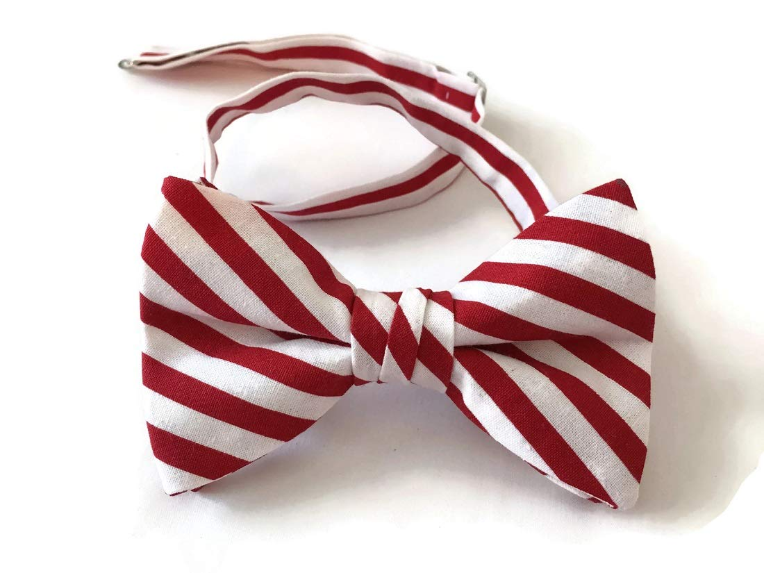 Candy Cane Bow Tie Pre-tied Holiday Design for Baby to Adult (Boys)