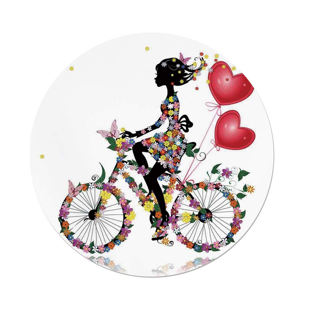 Polyester Round Tablecloth,Floral,Flower Girl Bike with Balloons Valentine Bicycle Fairy Fashion Woman Heart Teen Girls Decor Decorative,,Dining Room Kitchen Picnic Table Cloth Cover,for Outdoor Indo by iPrint