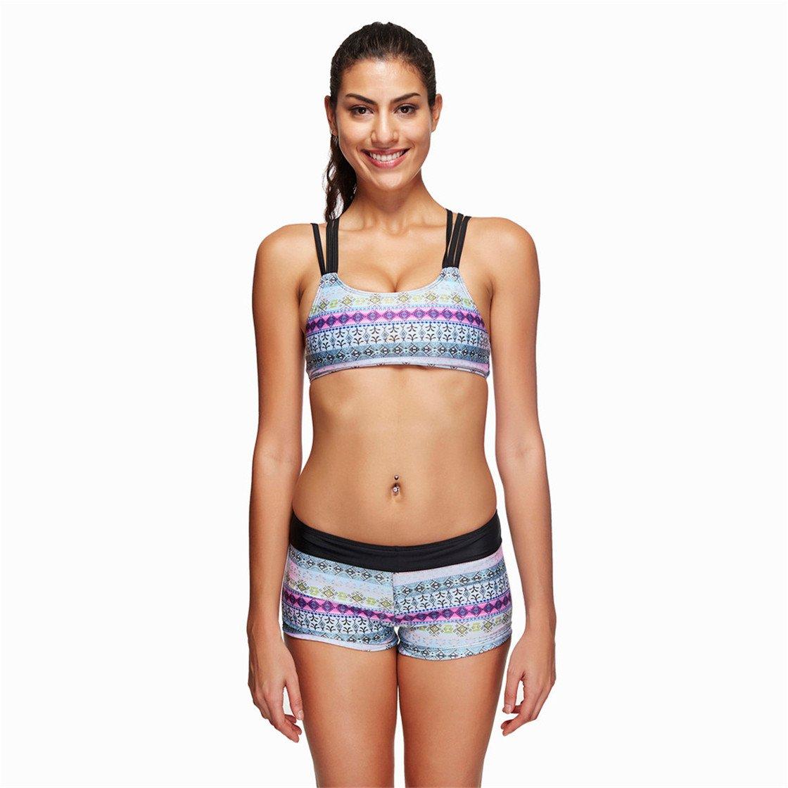 MOSE Women Sports Bikini Pure Color Beach Bathing Two Pieces Beachwear Set (Black, M)