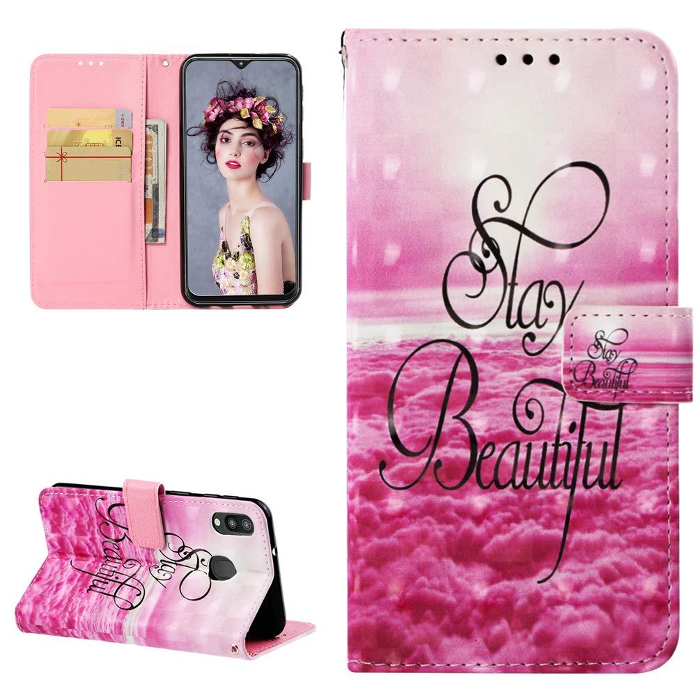 M20 Handytasche Kompatible für Samsung Galaxy M20 Hülle 3D Muster Flip Case Cover PU Leder Tasche Handyhülle Schutzhülle Skin Ständer Klapphülle Schale Bumper Magnet Deckel Mädchen