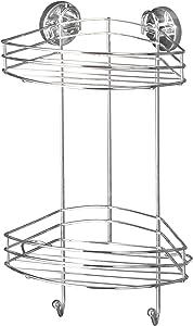 WENKO 20885100 Vacuum-Loc 2-Tier corner rack - fixing without drilling, Steel, 9.1 x 16.9 x 8.3 inch, Chrome