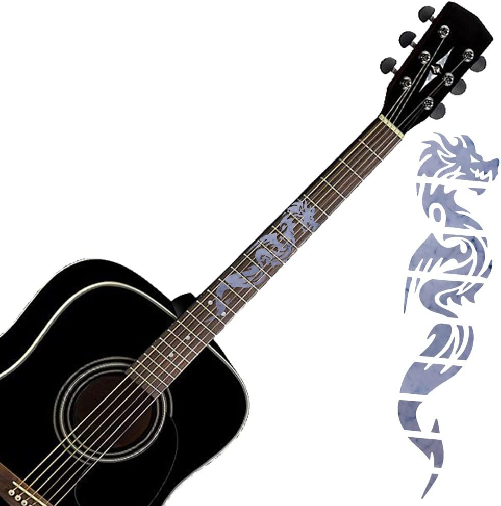 Silver Fretboard Inlay Sticker for Guitar Bass DIY Replacement Chinese Dragon