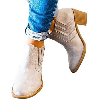 0cf278dbd940 Femme Bottines a Talon Cuir Chelsea Boucles Basses 5 CM Automne Confortable  Chaussure Bateau Gris 35