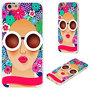 iPhone 6s Plus Case,iPhone 6 Plus Case,VoMotec [Original series] Anti-scratch Slim Flexible Soft TPU Protective Shell Cover Case For iPhone 6 6s Plus 5.5,a sunglasses woman with floral hair