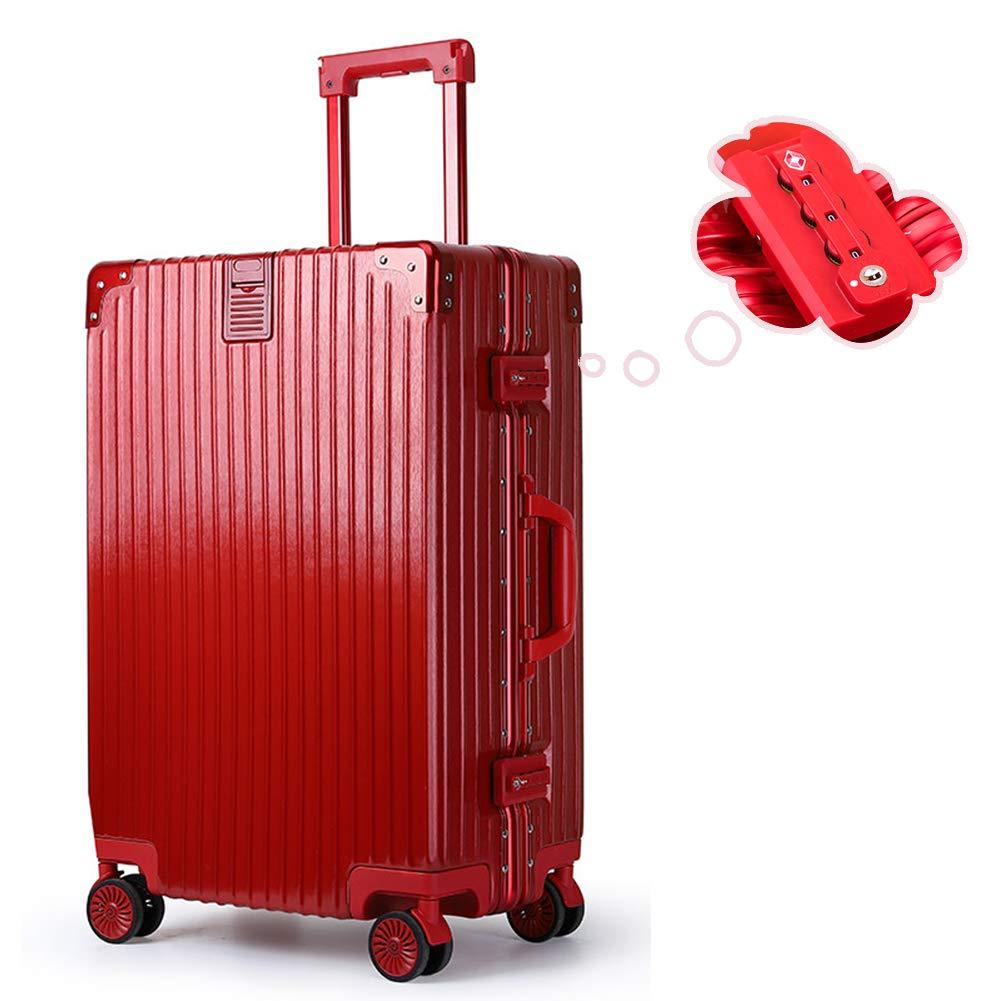 IPO スーツケース ドイツ品質 機内持込 ダブルTSAロック 軽量 静音 防水 人気 トラベルバッグ トランク PC+ABS アルミ 8輪Wキャスター カバン掛けシステム タグ付き 国内出張から海外旅行まで対応5サイズ 4色展開 XL(26) レッド B07R8CLSQD