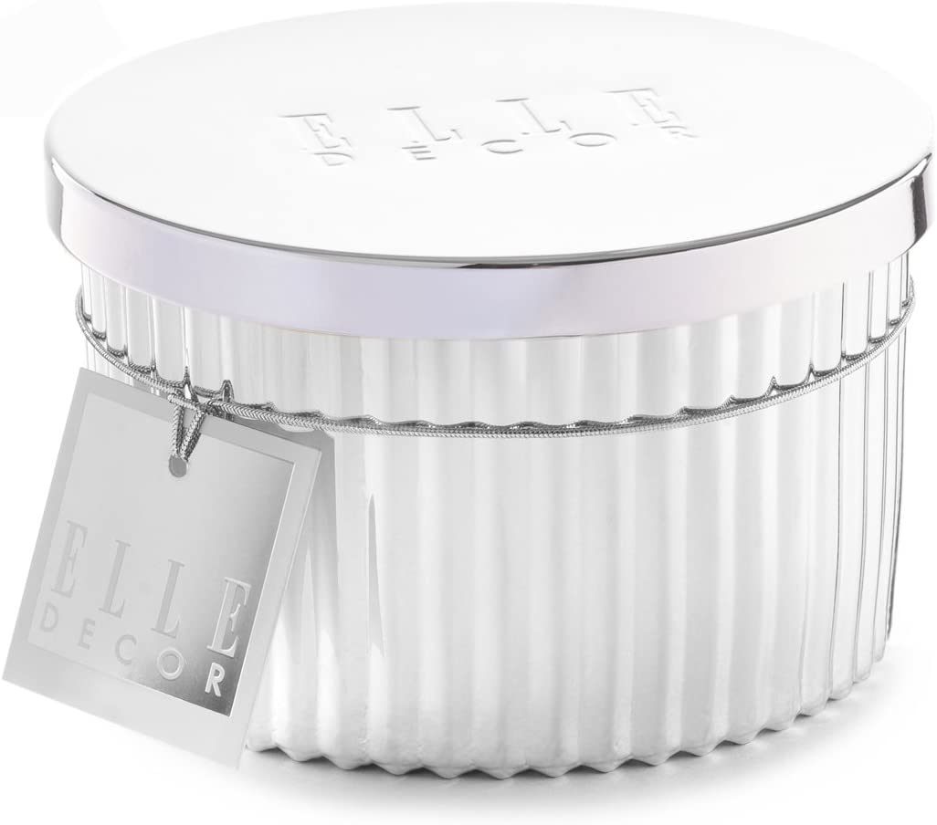 Elle Decor Filled Candle with Metal Lid-Prosecco, Silver