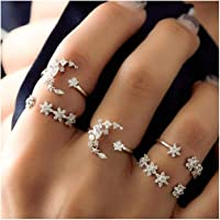 Fstrend Boho Crystal Joint Knuckle Rings Set Silver Moon Rhinestons Finger Ring Flower Stackable Hand Jewelry for Women…