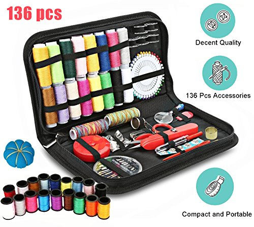 136 Pcs Portable Sewing Kit, Gold Meier 136 Basic Premium DIY Sewing Accessories Tools, 36 Color Spools of Thread, Mini Travel Sew Kits for Beginners Ideal for Home Use or DIY to Mending and Repair by Gold meier