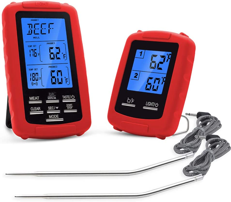 Grill kabellos Kochen Grill Rot Thermometer f/ür Grillen Ofen digitales Grill Fleisch Dual-Kanal TREA2SURE Grill-Thermometer