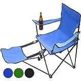 Chaise de camping avec repose-pieds pour chaise de camping mQ-power 3–bleu/vert bleu