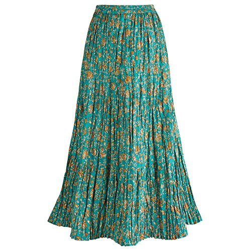 Women's Long Reversible Peasant Skirt - Boho Floral Green/Gold Patchwork Cotton Maxi Skirt Bottom - Large
