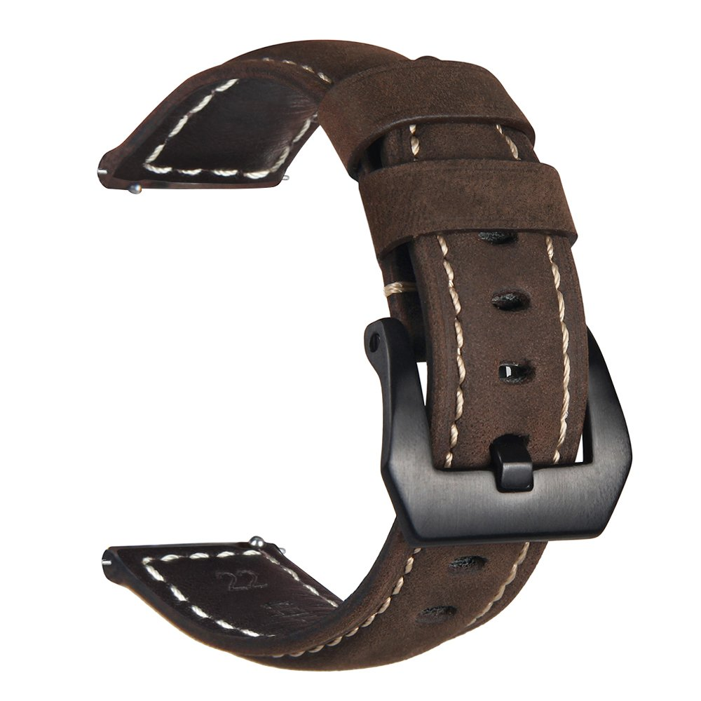 Vigoss For Gear S3 Frontier Classic Band Galaxy Watch Bri Samsung Smartwatch Sm R760ndaaxar Black 46mm Bands 22mm Premium Vintage Crazy Horse Genuine Leather Strap Replacement Bracelet