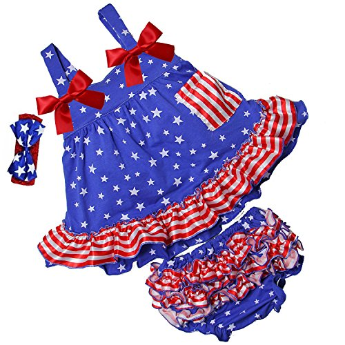 Kirei Sui Baby 2 Piece Star Red Stripes Swing Top Bloomer Set S Blue