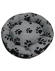 ASC Suave Mascota Cama–Gatos/Perros diseño de Huellas de–Color Negro y Gris Grande