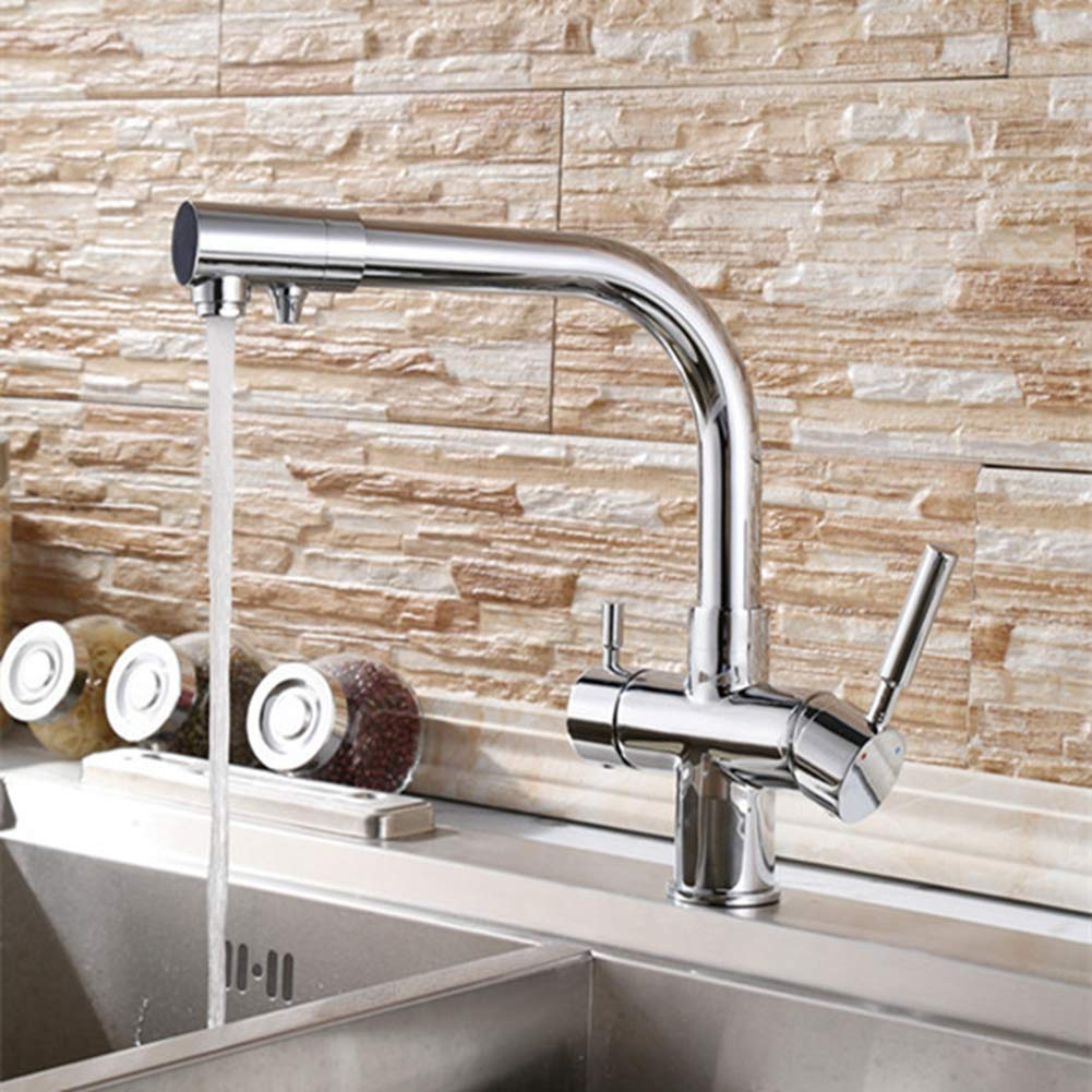 YAWEDA Double Fuinction Kitchen Faucet 3 Way Filler Kitchen Faucet Three Way Tap for Water Filter