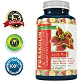 100% Pure Forskolin Extract 60 Capsules (Best Coleus Forskohlii on the Market) - Highest Grade Weight Loss Supplement for Women & Men - Standardized At 20% - Guaranteed By California Products